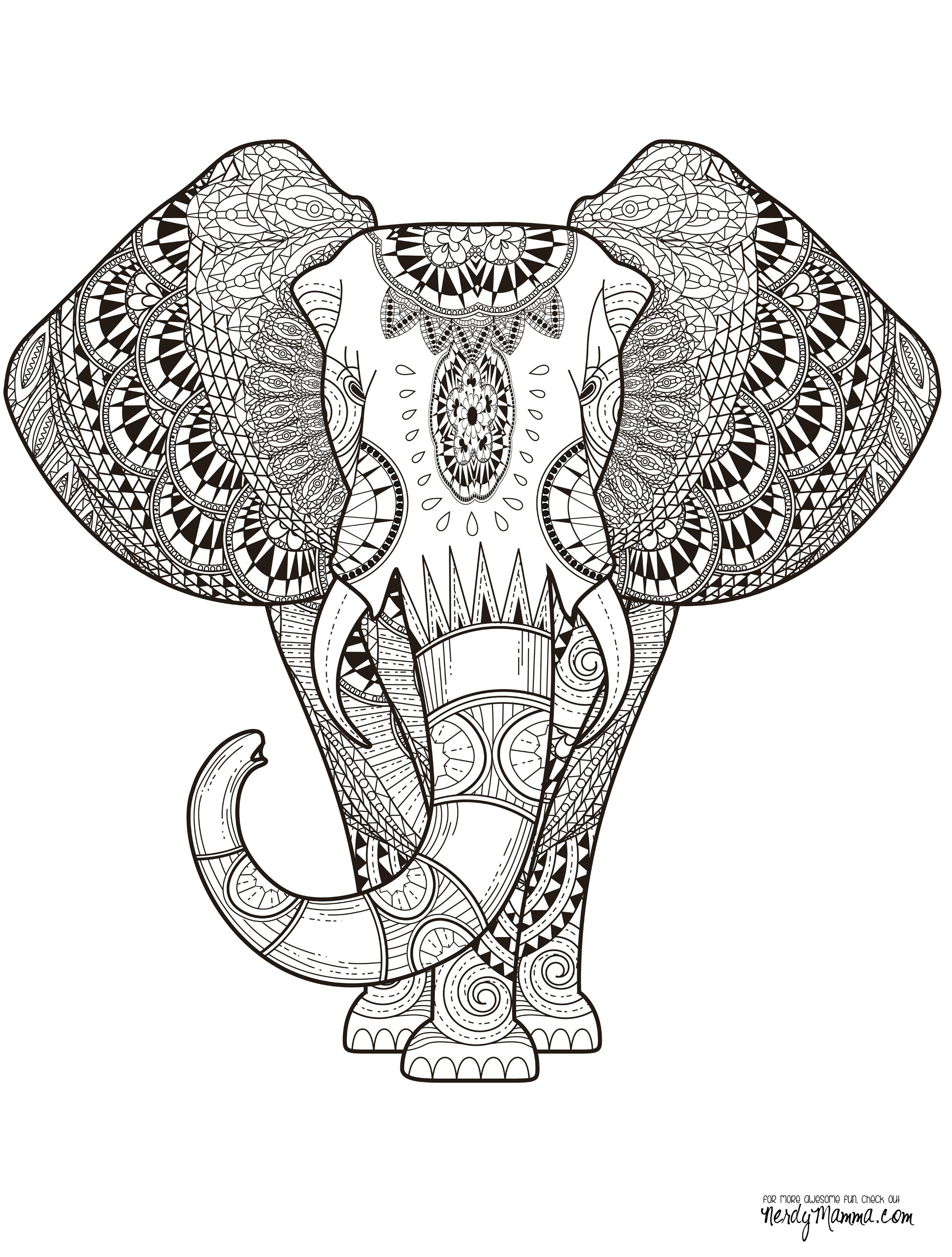 Elephant Coloring Book For Adults  11 Free Printable Adult Coloring Pages