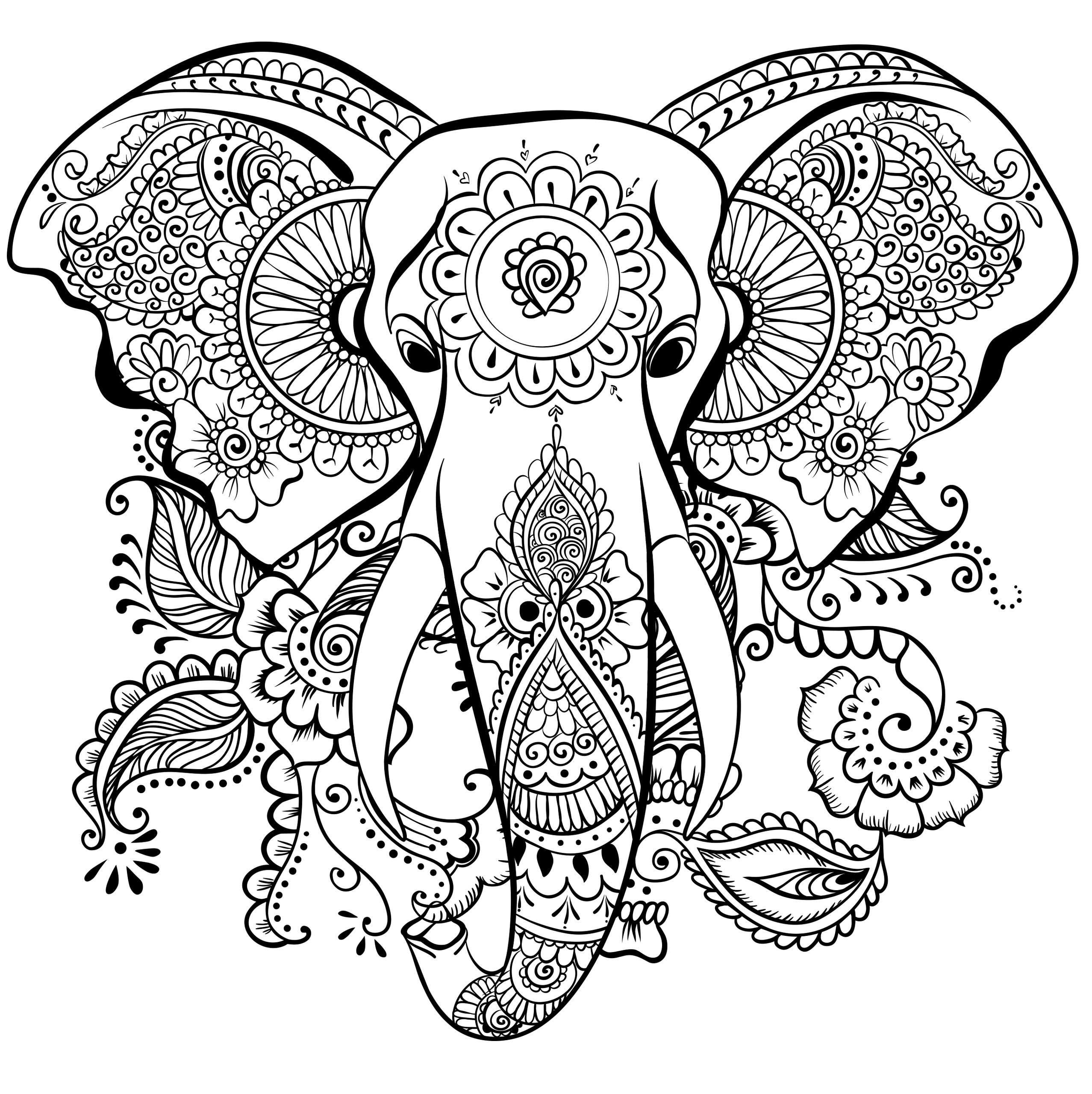 Elephant Coloring Book For Adults  63 Adult Coloring Pages To Nourish Your Mental Visual