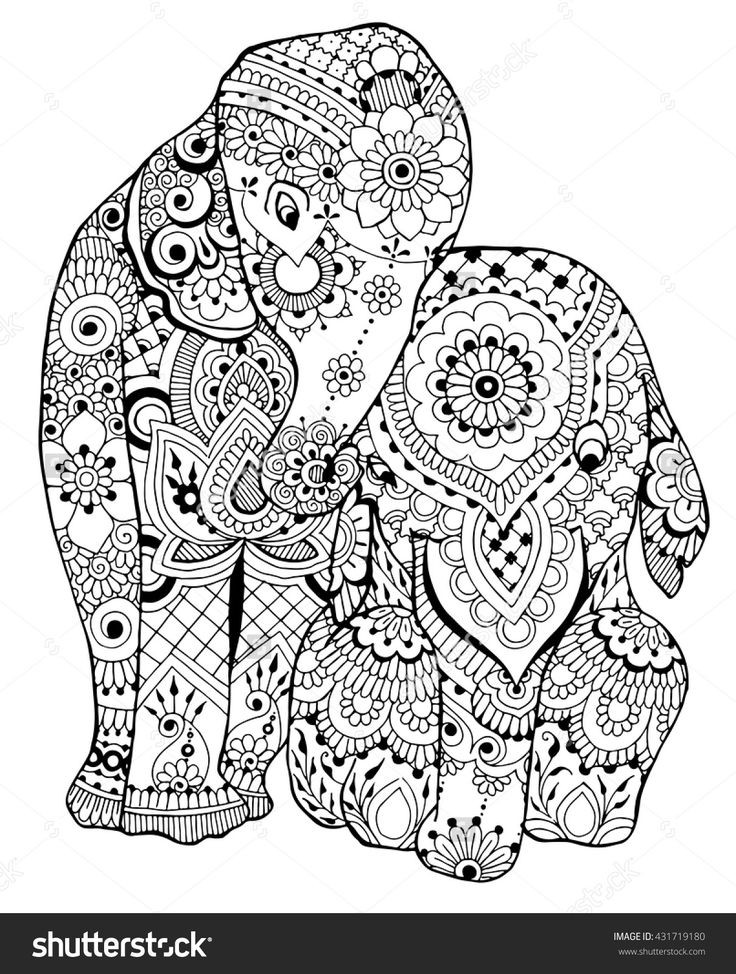 Elephant Coloring Book For Adults  315 best images about Adult Colouring Elephants Zentangles