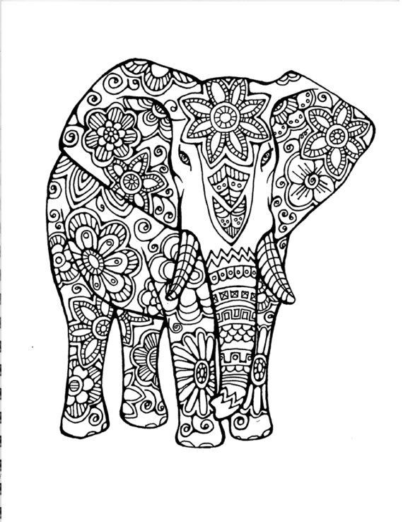 Elephant Coloring Book For Adults  Adult Coloring Page Original Hand Drawn Art in Black and