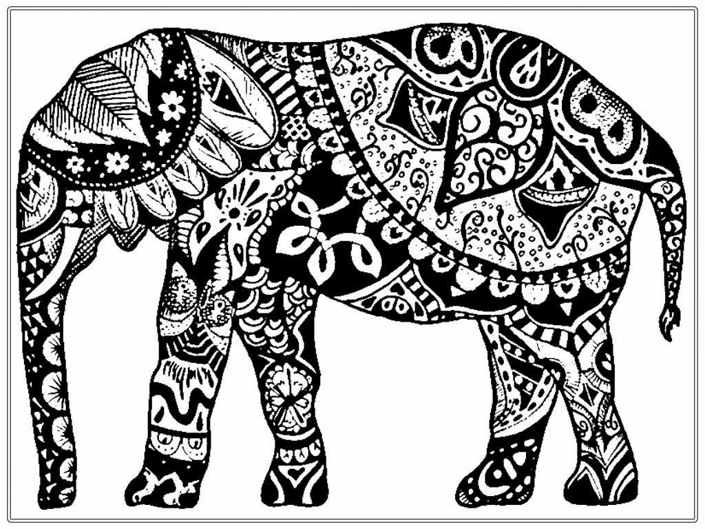 Elephant Coloring Book For Adults  Adult Coloring Pages Free African Elephant
