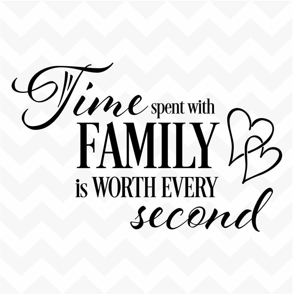 Family Quotes  TIME spent with family worth every second vinyl wall