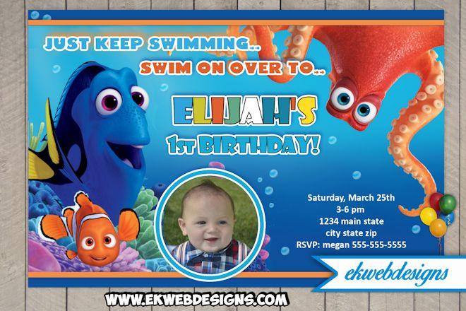 Finding Dory Birthday Invitations  Custom Finding Dory Birthday Invitation Finding Nemo