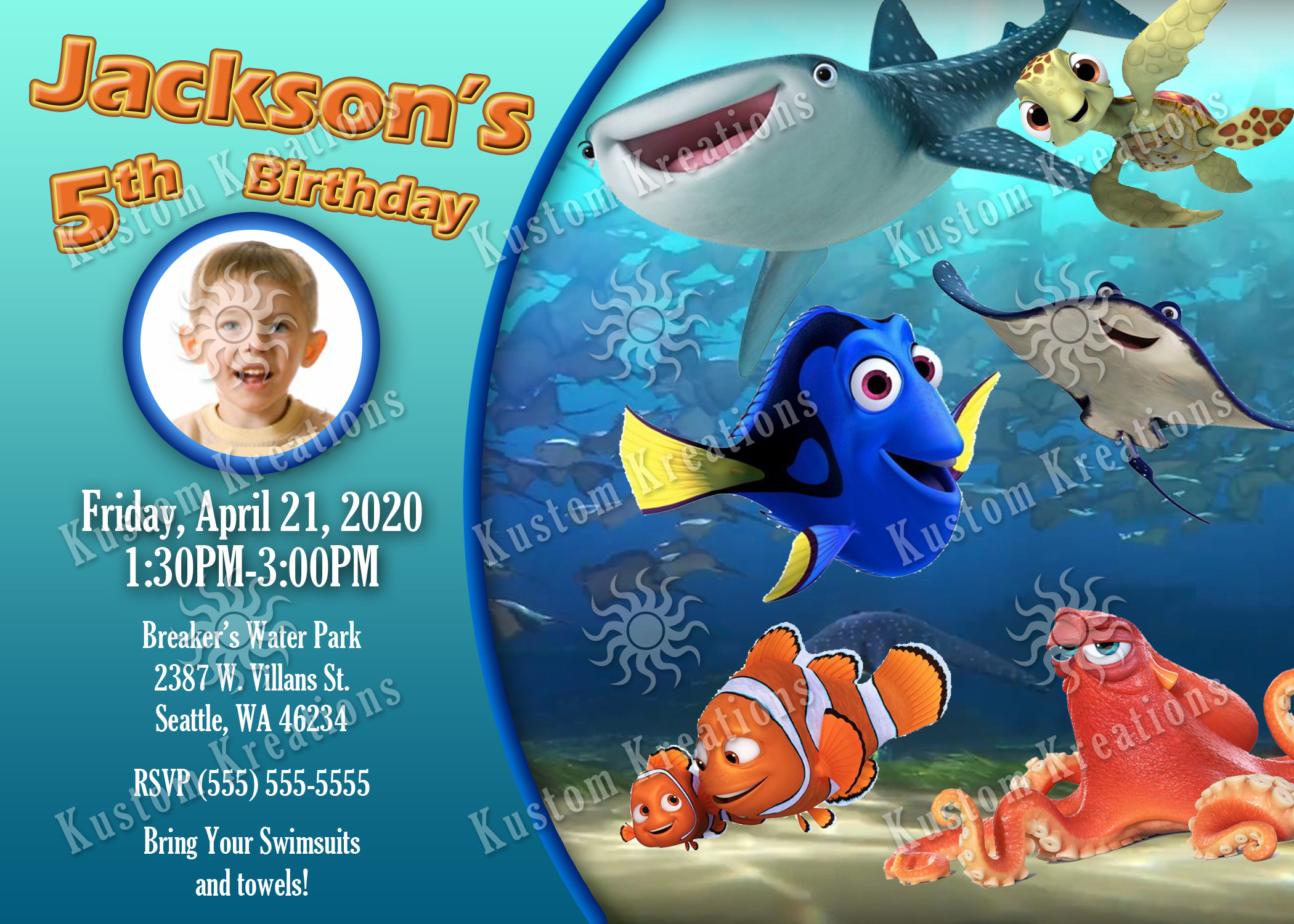 Finding Dory Birthday Invitations  Finding Dory Birthday Invitations