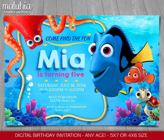 Finding Dory Birthday Invitations  Finding Dory Invitation Finding Nemo Dory Invite Disney