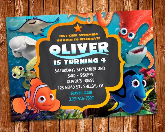 Finding Dory Birthday Invitations  Finding Dory Invitation Finding Dory Invite Finding Nemo