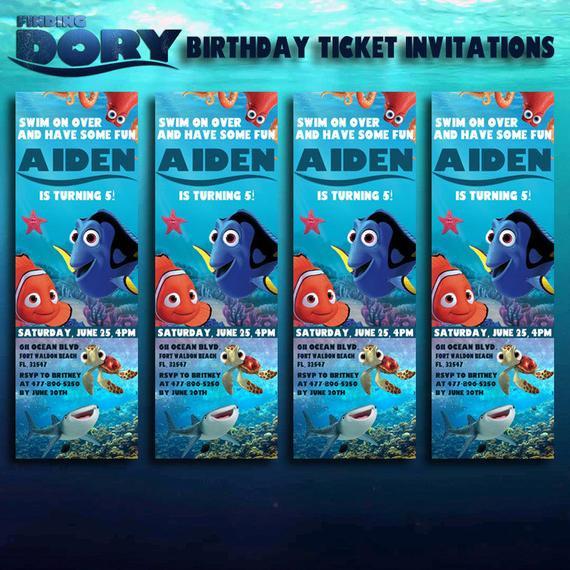 Finding Dory Birthday Invitations  Finding Dory Birthday Ticket Invitations by DottyDigitalParty
