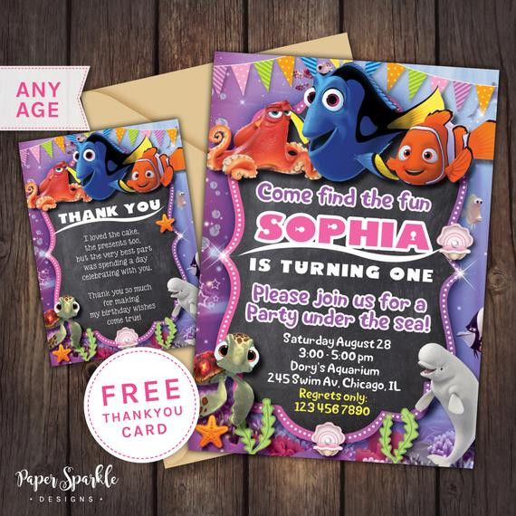 Finding Dory Birthday Invitations  Finding Dory Invitation nemo Birthday by PaperSparkleDesigns