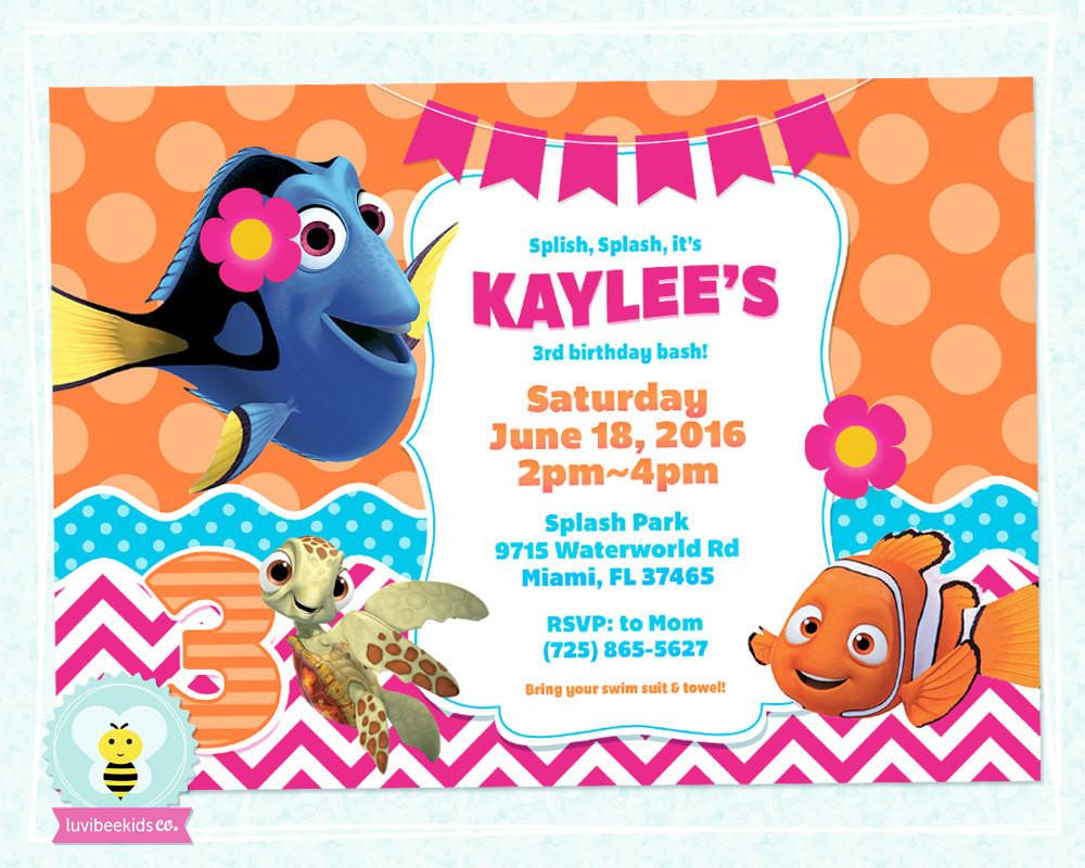 Finding Dory Birthday Invitations  Finding Dory Birthday Invitation Finding Dory Party