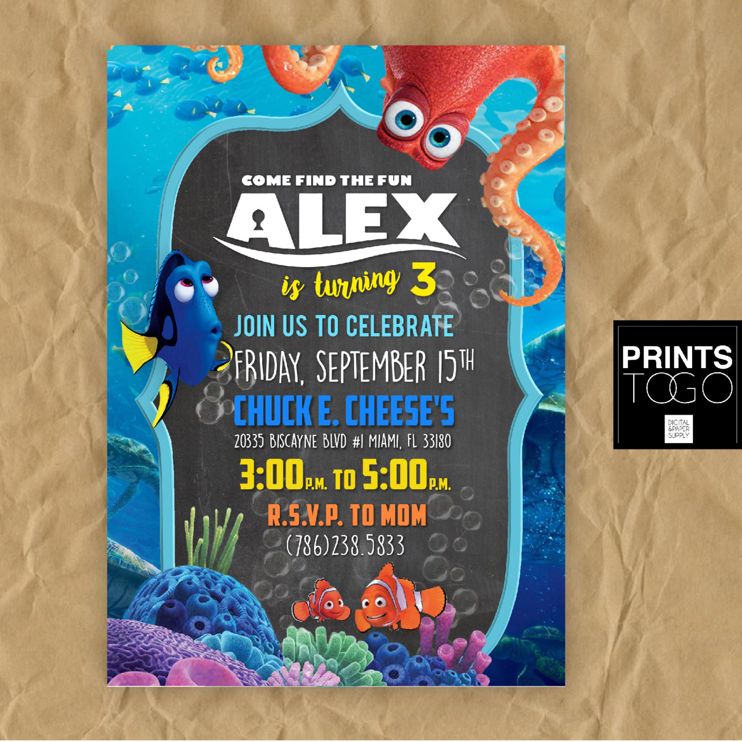 Finding Dory Birthday Invitations  Finding Dory Birthday Invitation Dory Birthday Party Finding