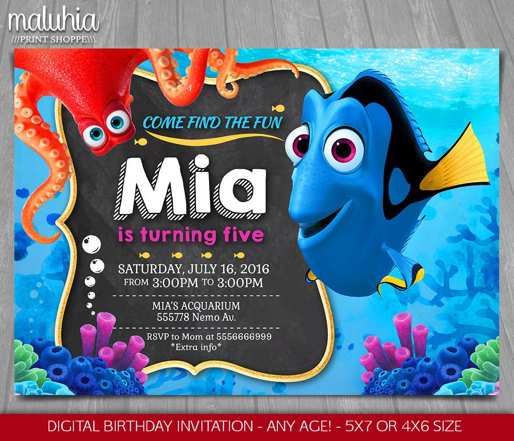 Finding Dory Birthday Invitations  Finding Dory Invitation Finding Nemo Invite Disney Pixar