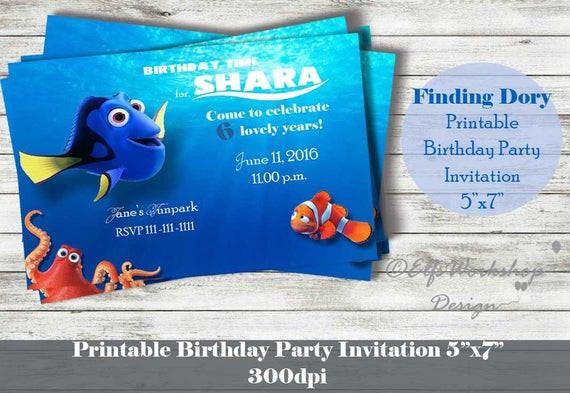 Finding Dory Birthday Invitations  Finding Dory Invitation Printable Birthday by