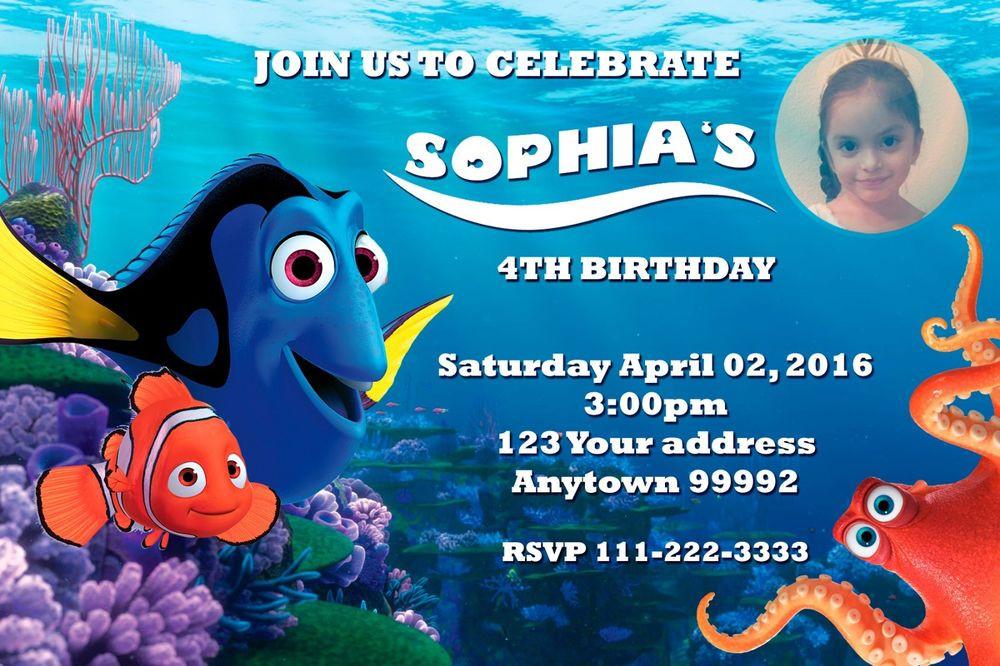 Finding Dory Birthday Invitations  FINDING DORY NEMO Birthday party invitations personalized