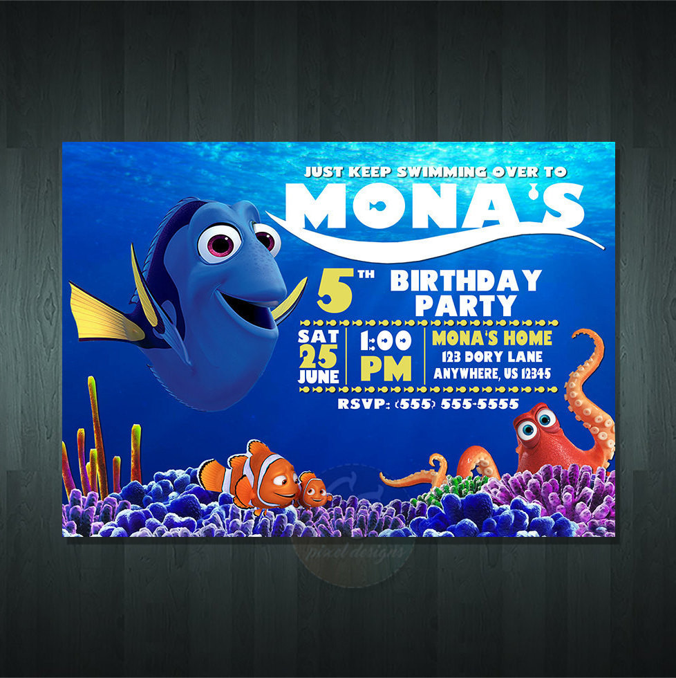 Finding Dory Birthday Invitations  FINDING DORY BIRTHDAY Invitation Digital Item No item