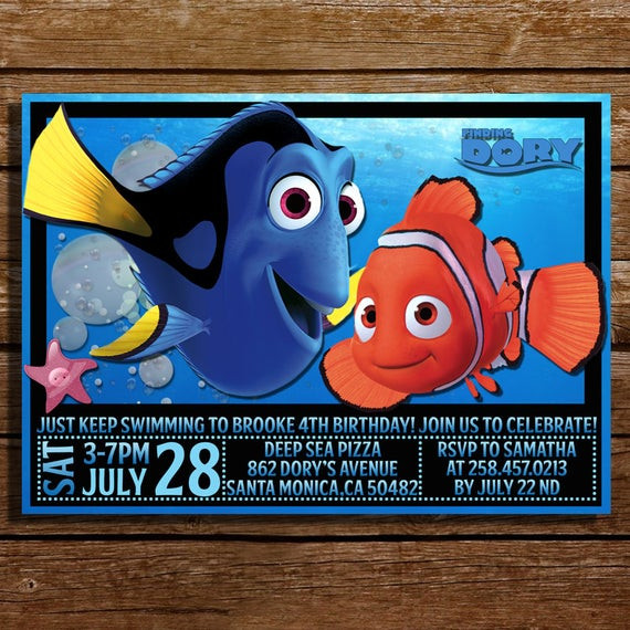 Finding Dory Birthday Invitations  Finding Dory Birthday Invitation Finding Dory by