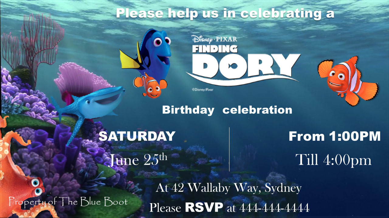 Finding Dory Birthday Invitations  Finding Dory birthday invitation template