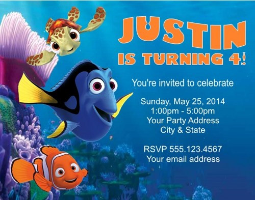 Finding Dory Birthday Invitations  Finding Dory Invitations Ideas FREE Invitation Templates