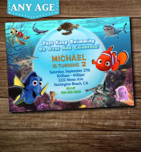 Finding Dory Birthday Invitations  YOU CHOOSE Nemo Birthday Invitation Nemo Invitation Nemo