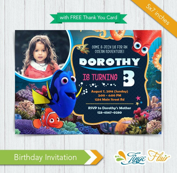 Finding Dory Birthday Invitations  Finding dory invitation Finding dory Birthday Invitation