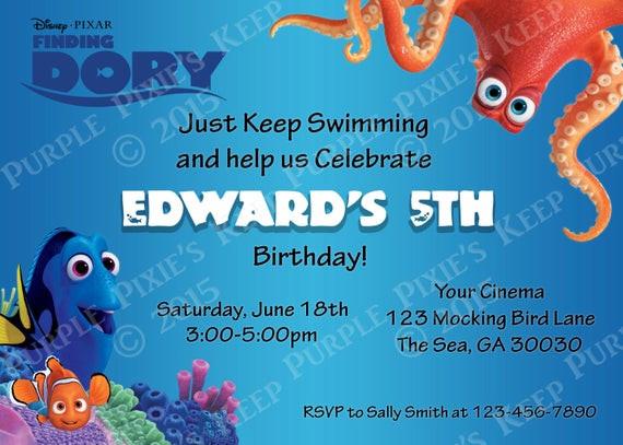 Finding Dory Birthday Invitations  Items similar to Finding Dory Movie Birthday Invitation on