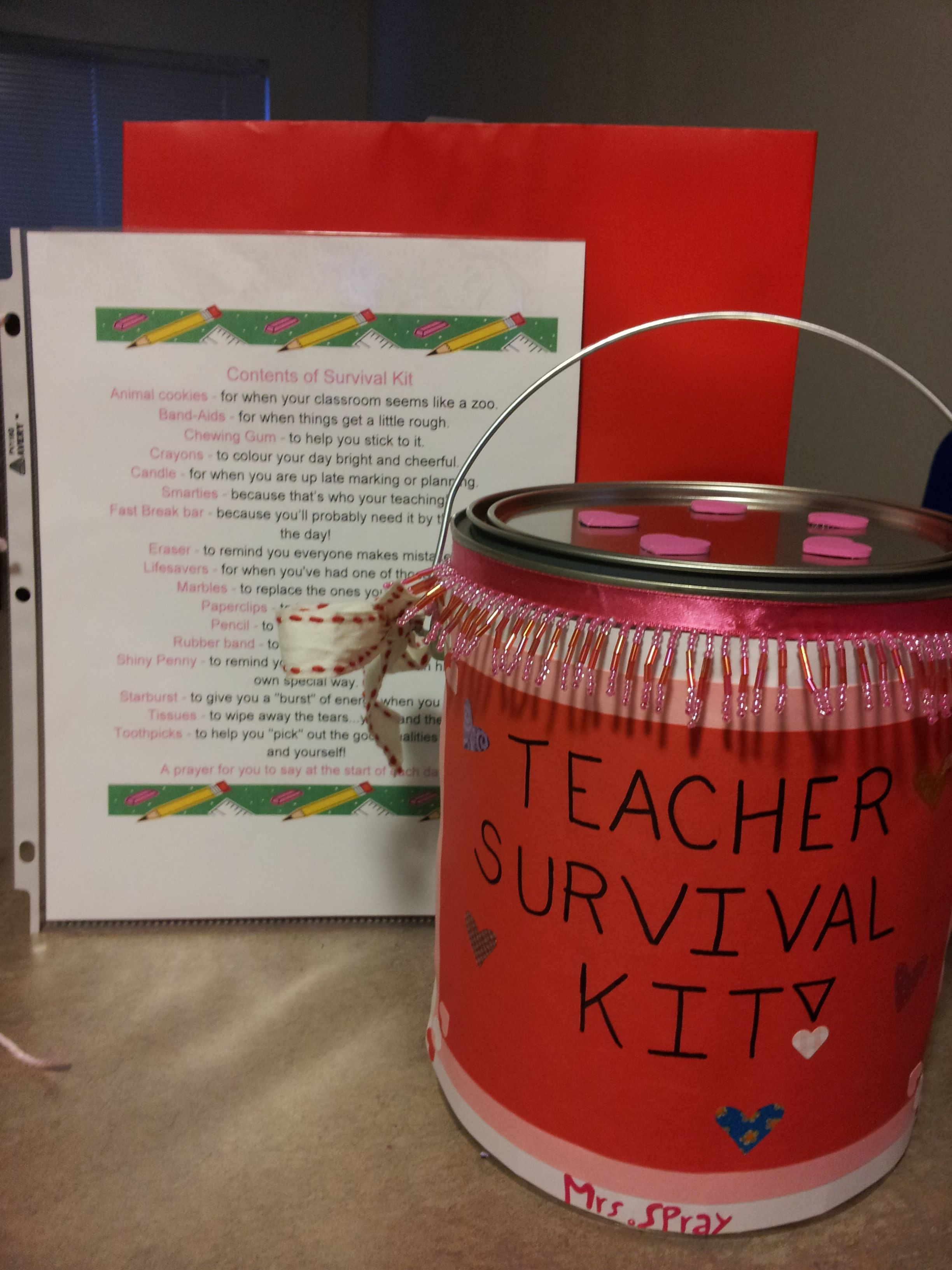 First Valentine'S Day Gift Ideas  Valentines Day Teacher Survival Kit Would also be great
