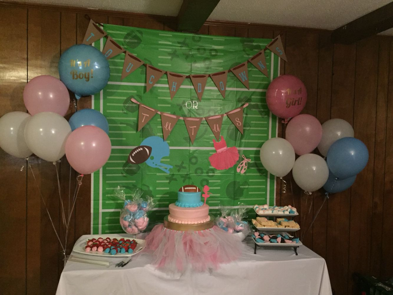 Football Gender Reveal Party Ideas  Touchdowns or Tutus sweets table