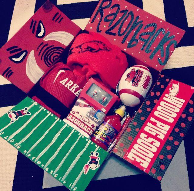 Football Gift Ideas For Boyfriend  Arkansas Razorback care package I made for for Benjamin