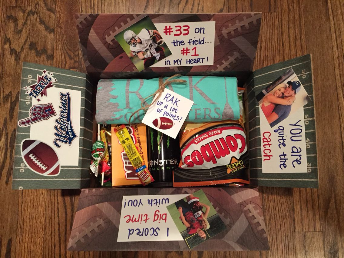 Football Gift Ideas For Boyfriend  Football player goo bag football care package