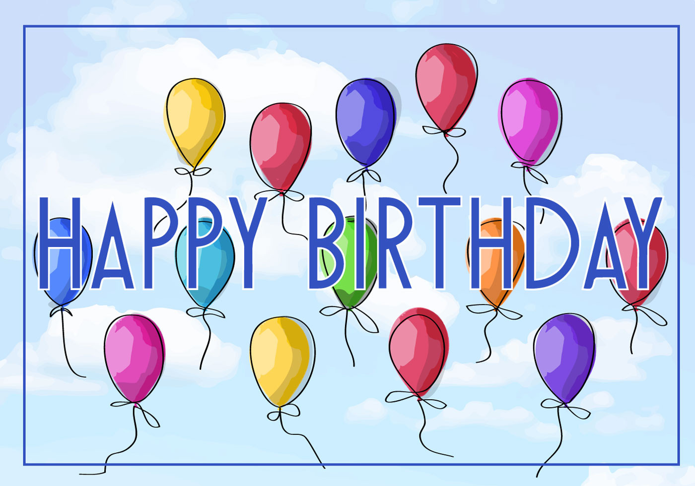Free Download Birthday Card  Free Vector Illustration of a Happy Birthday Greeting Card