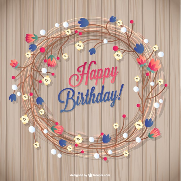 Free Download Birthday Card  Floral birthday card Vector