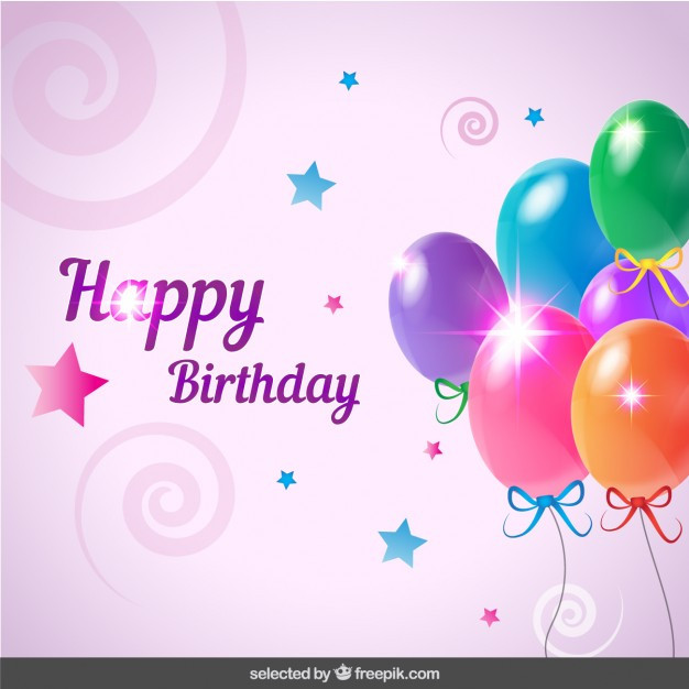 Free Download Birthday Card  Birthday card with balloons Vector