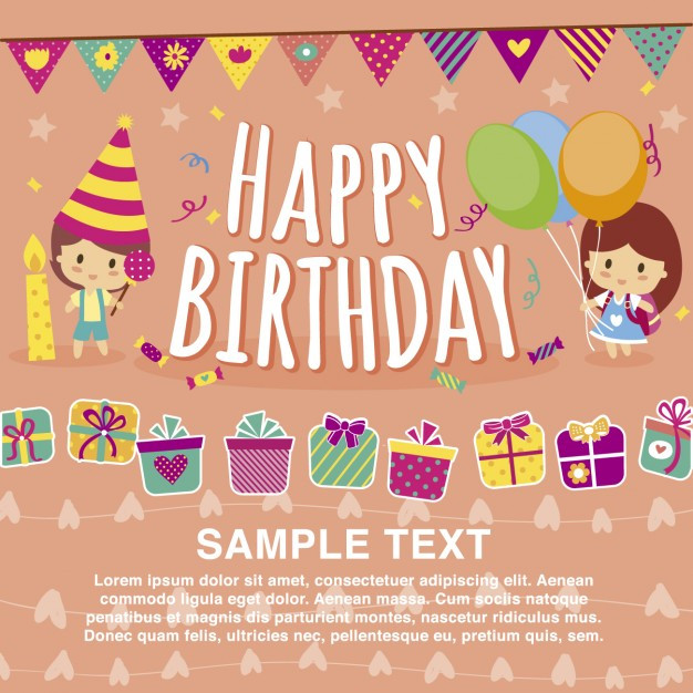 Free Download Birthday Card  Happy birthday card template Vector
