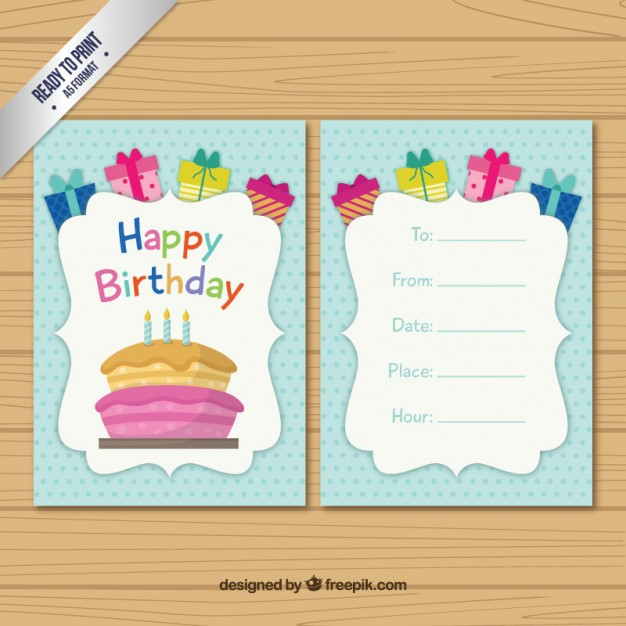 Free Download Birthday Card  Colored birthday card template Vector