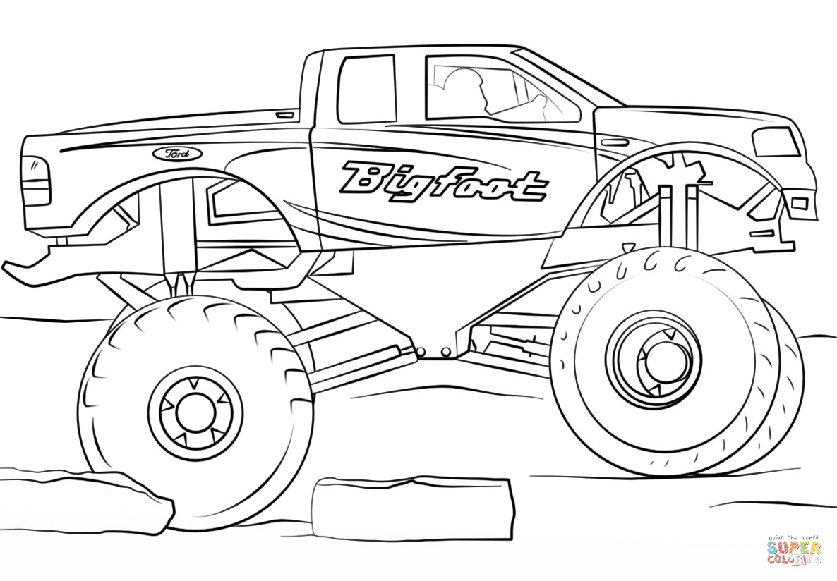 Free Monster Truck Coloring Pages  Bigfoot Monster Truck coloring page