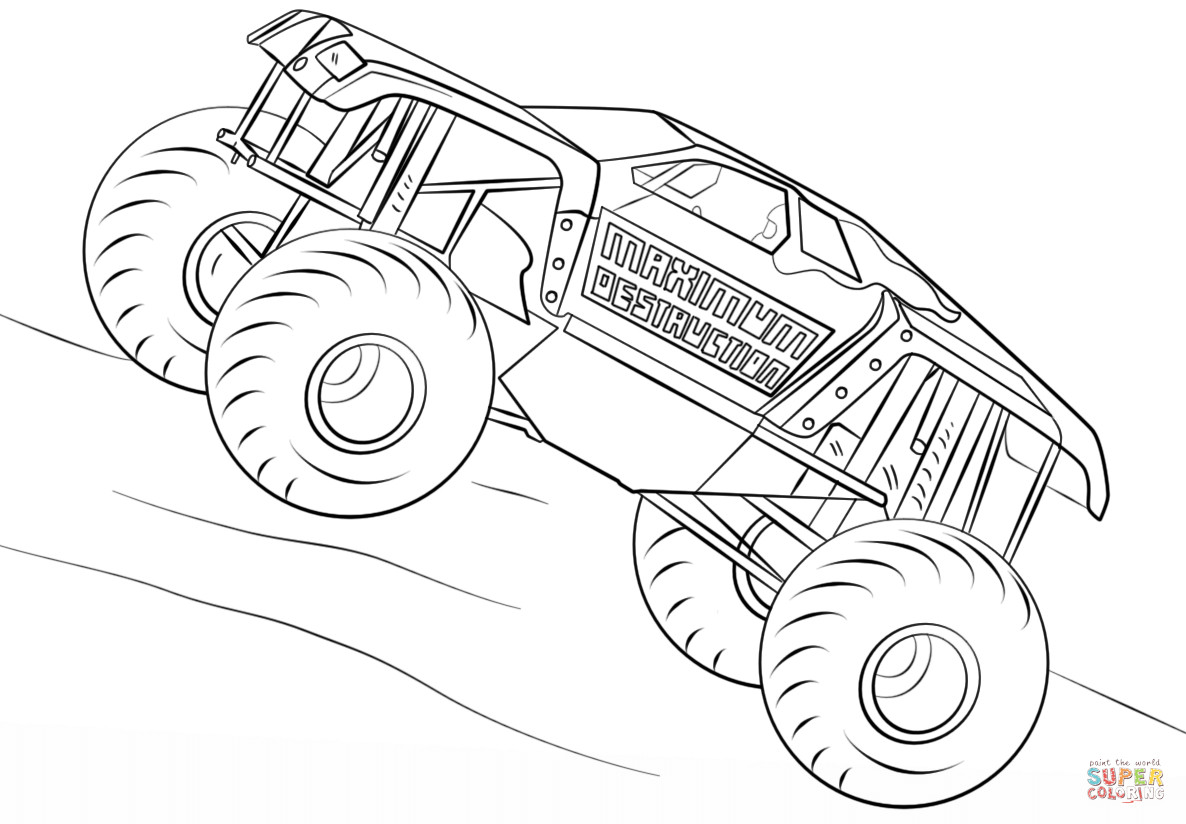 Free Monster Truck Coloring Pages  Maximum Destruction Monster Truck coloring page