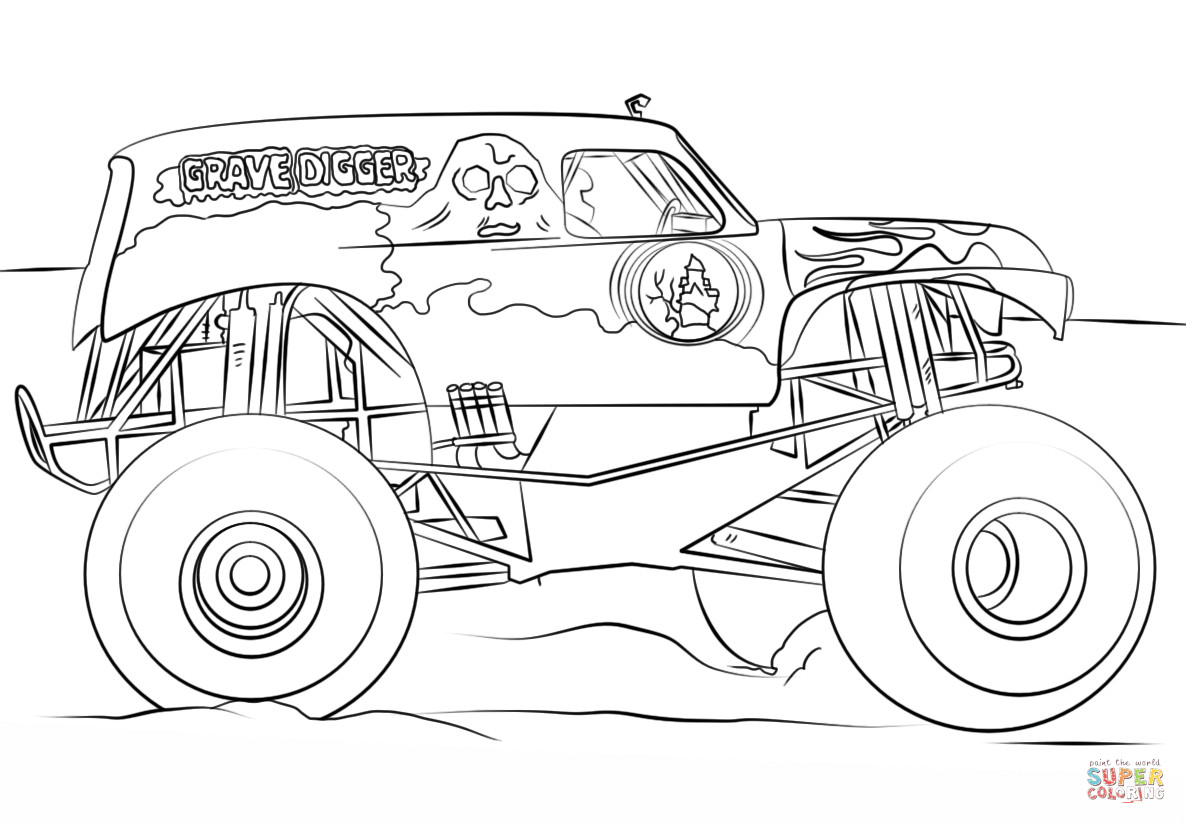 Free Monster Truck Coloring Pages  Grave Digger Monster Truck coloring page