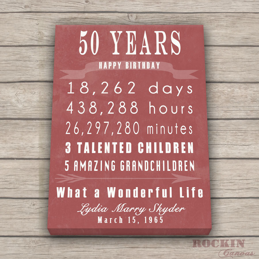 Friend 50Th Birthday Gift Ideas  50th BIRTHDAY GIFT Sign Print Personalized Art CanvasMom Dad