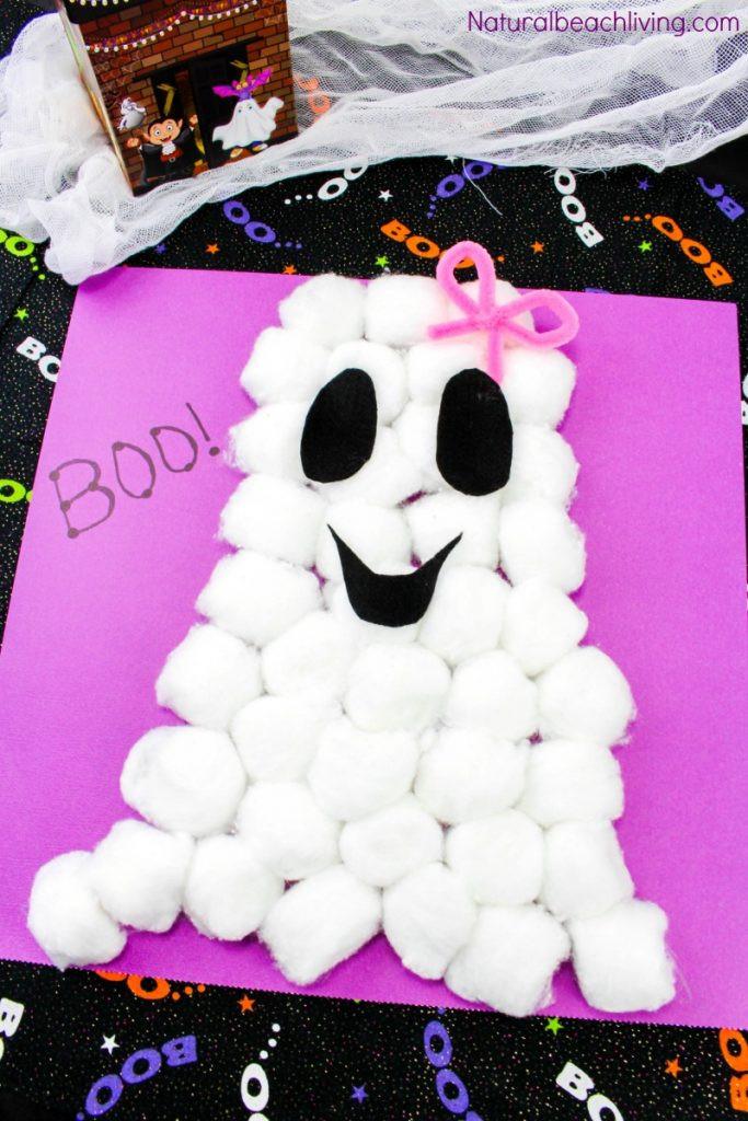 Fun Craft For Preschoolers  Easy Cotton Ball Ghost Craft for Preschoolers Natural