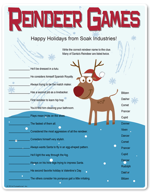 Fun Work Christmas Party Ideas  Printable Reindeer Games they re like fun riddles who