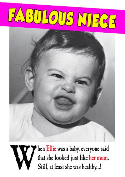 Funny Niece Birthday  Funny Female Inc Friends Birthday Personalised Cards