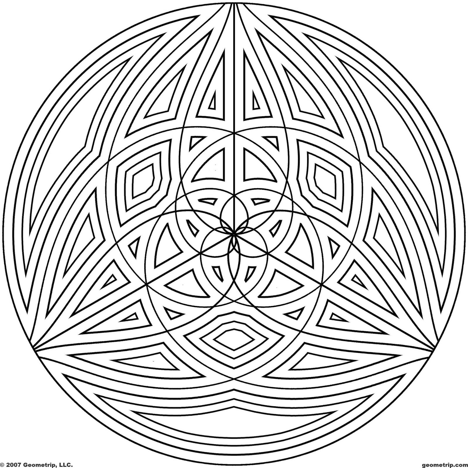 Geometric Coloring Pages  50 Trippy Coloring Pages