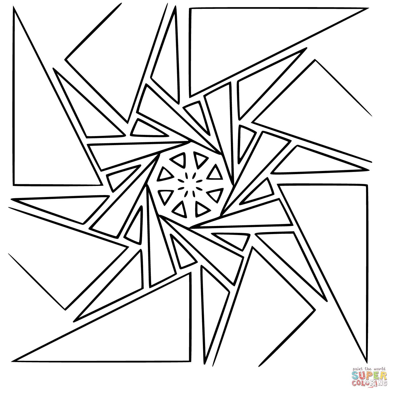 Geometric Coloring Pages  Geometric Mandala coloring page