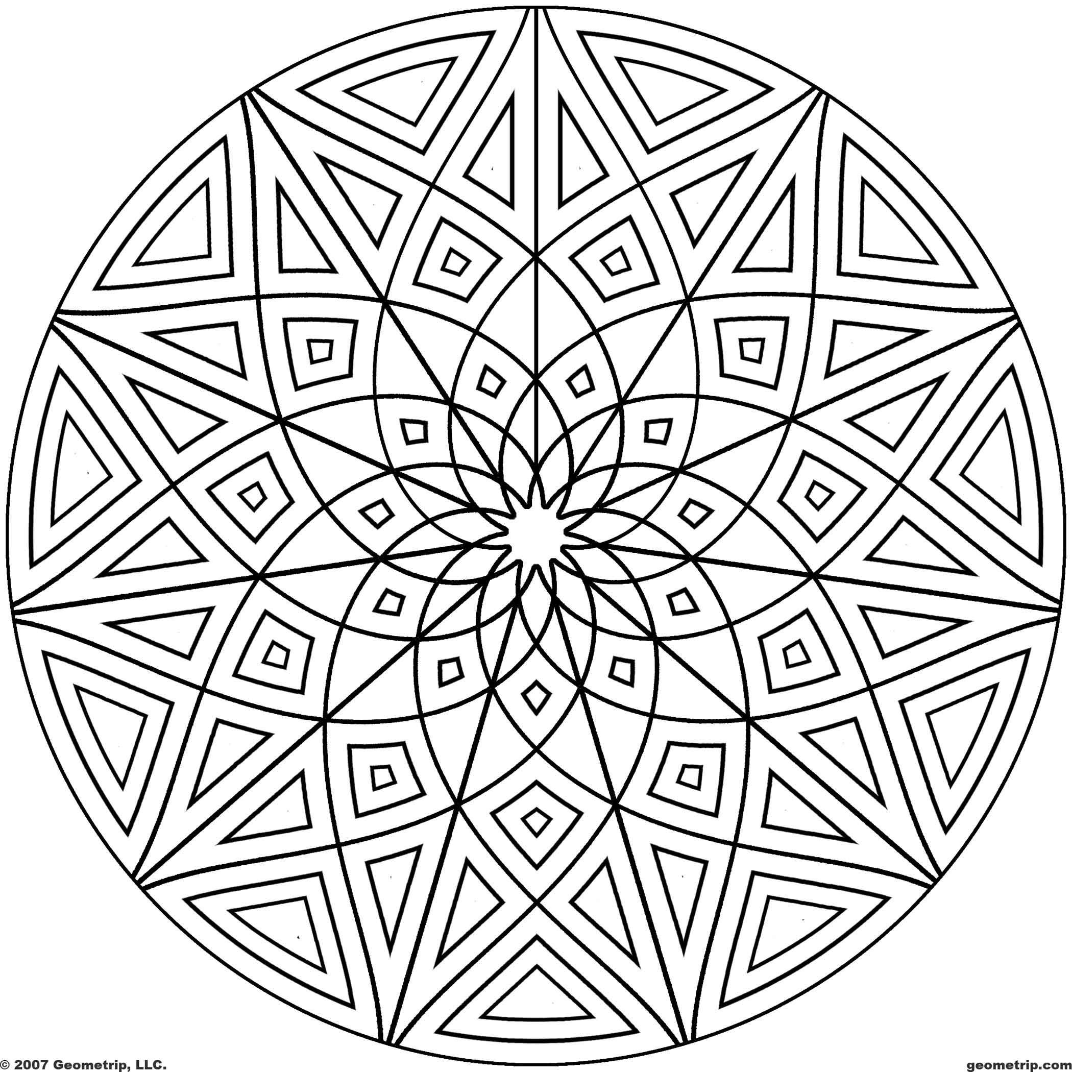 Geometric Coloring Pages  Geometric Mandala Coloring Pages Coloring Home