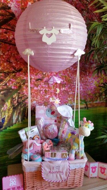 Gift Basket Ideas For Baby Shower  Baby Shower hot air balloon t basket DIY