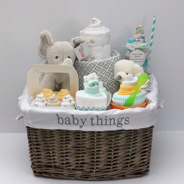 Gift Basket Ideas For Baby Shower  Gender Neutral Baby Gift Basket Baby Shower Gift Unique Baby