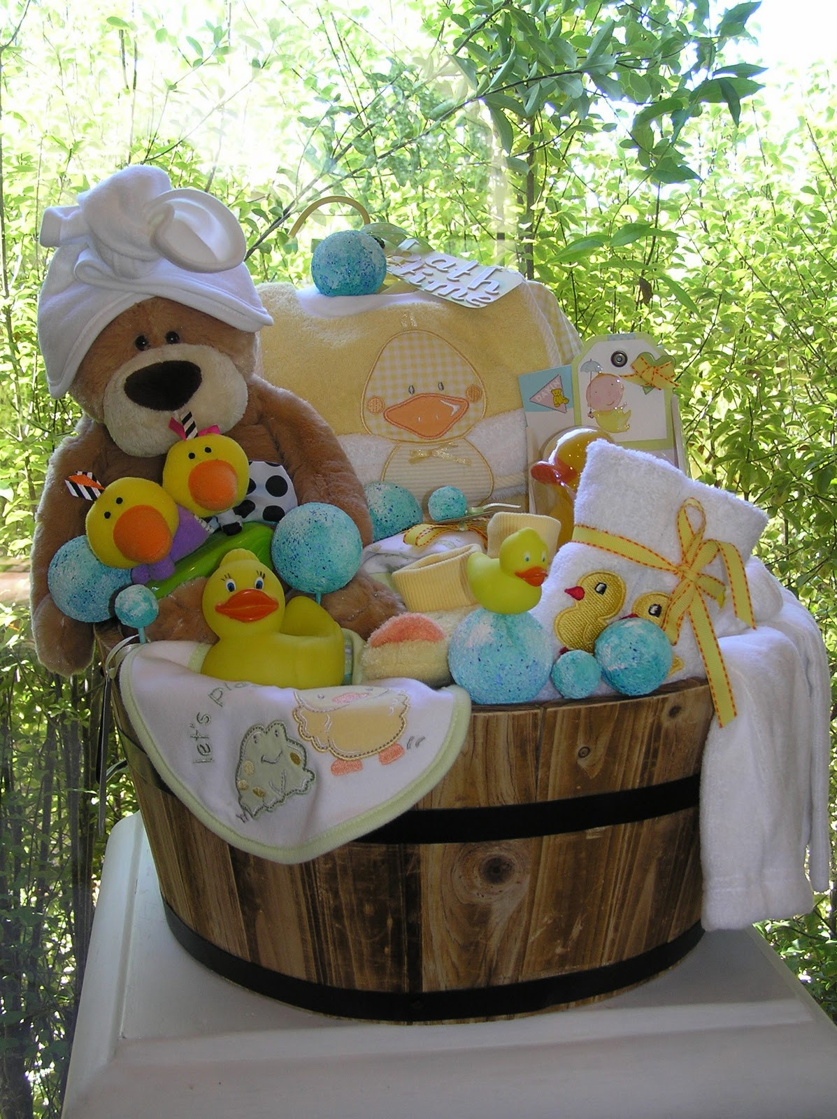 Gift Basket Ideas For Baby Shower  White Horse Relics Unique Themed Baby Gift Baskets
