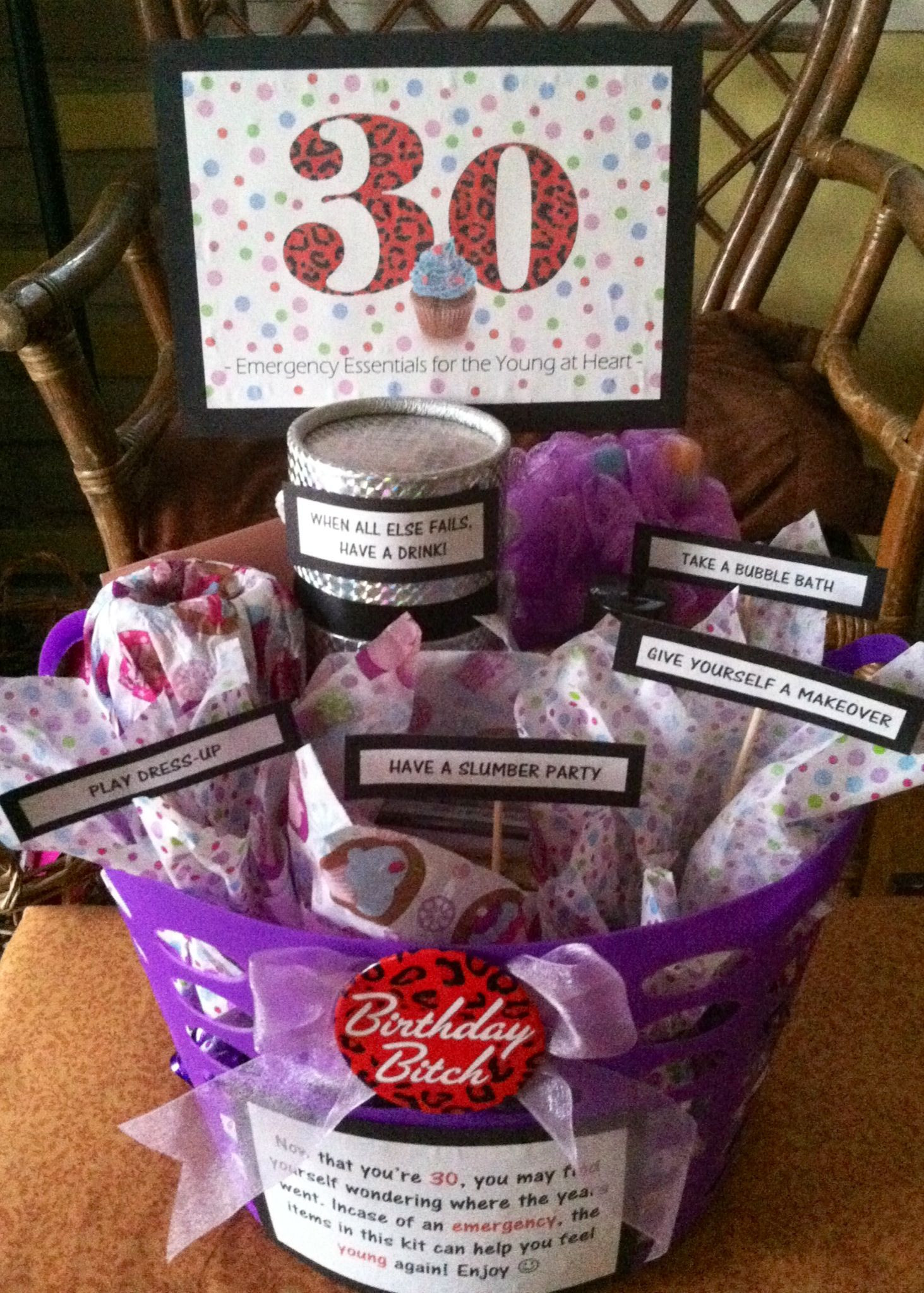 Gift Ideas For 30Th Birthday Woman  30th Birthday Gift Basket 5 ts in 1 Emergency