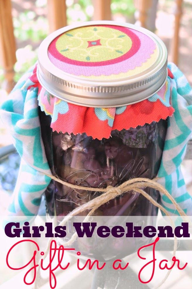 Gift Ideas For Girls Weekend  Girls Weekend Gift in a Jar Scarf & Purple Mason Jar