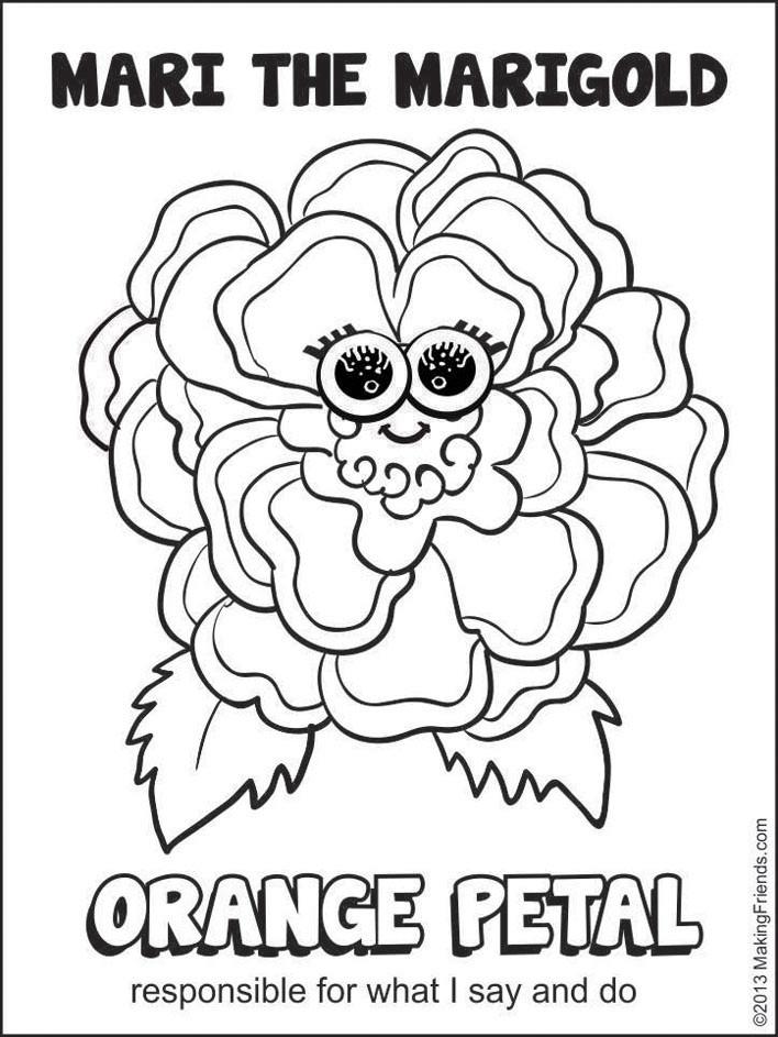 Girls Scout Daisy Coloring Pages  Orange Petal Mari the Marigold MakingFriendsMakingFriends