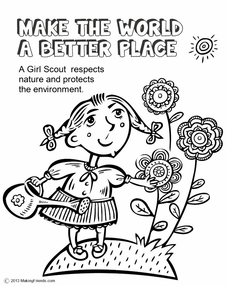 Girls Scout Daisy Coloring Pages  The Law Make the World a Better Place Coloring Page